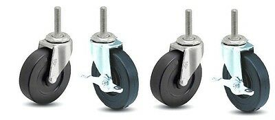 """Set of 4 Swivel Casters with 5"""" x 1"""" Hard Wheels and 1/2"""" Threaded Stem (2 with"""