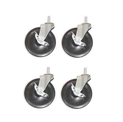 """(Pack of 4) Threaded Stem Casters with 5"""" Wheels and 1/2"""" -13 Stem with Brakes"""