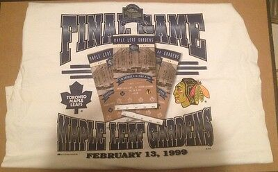 1999 Last Game At MAPLE LEAF GARDENS vs. Chicago BLACKHAWKS Ticket Tee Shirt NWT