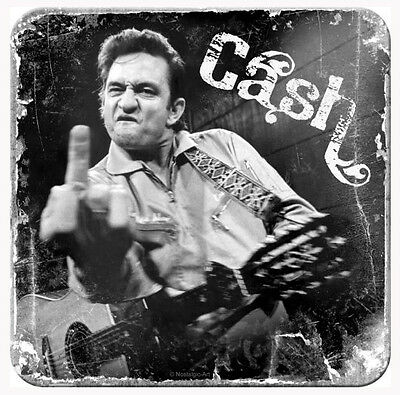 Retro Metal Coaster JOHNNY CASH 'The Finger' 9 x 9cm B/W design with cork base