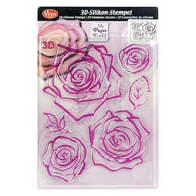 Viva Decor A5 Clear Silicone Stamps Set - 3D Rose #25