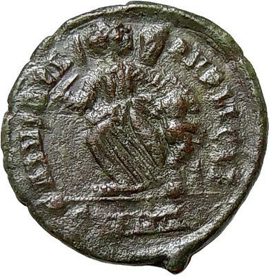 Valentinian II AE Victory dragging captive Heraclea Mint Ancient Roman Coin Rare