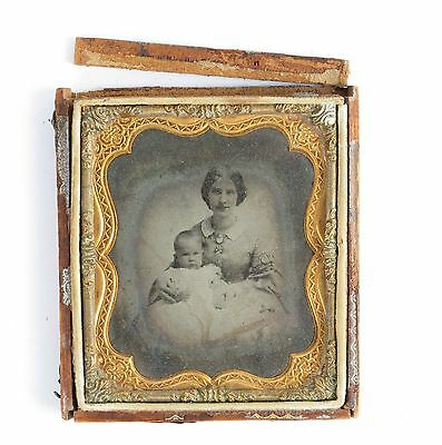 Antique ambroype baby 19th c sixth-plate photo mother dress cameo child portrait