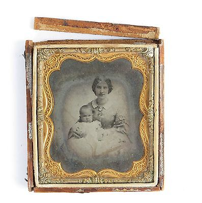 Mother baby ambrotype child 19th c 1/6 plate photo dress cameo portrait antique