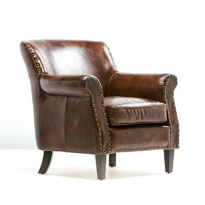 """34"""" Set of Two club Arm Chair Top Grain Leather Cigar Brown Solid Wood & Brass"""