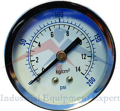 "Air Compressor Pressure / Hydraulic Gauge 2"" Face Back Mount 1/8"" NPT 0-200 PSI"