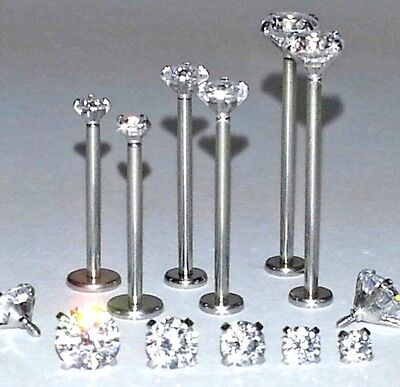 """16g 9/16"""" 5/8"""" or 3/4"""" PRONG CZ GEMS CHEEK DIMPLE LABRET PIERCING JEWELRY STUDS"""