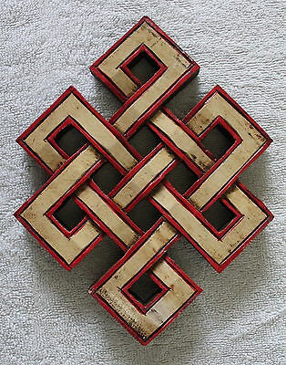 Wooden Hand Carved Tibetan Auspicious Symbol Endless Knot
