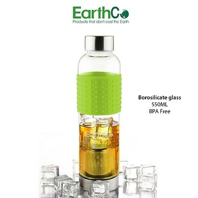 EarthCo Glass Tea Bottle with Infuser & Green Silicone Grip - 550ml