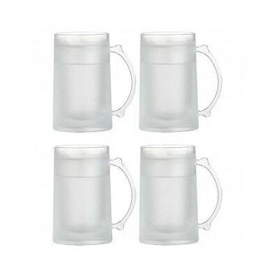 Freezer Mugs SET OF 4 Frosty Freezable Beer Stein Chilled Frozen 16 oz Drink Cup