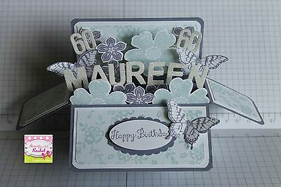 Handmade card, card in a box,Butterfly PERSONALISED card with age,stampin up