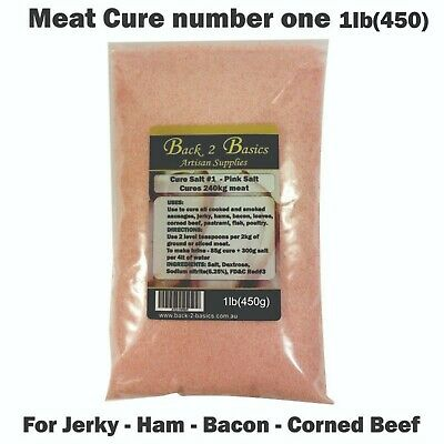 Meat Cure Salt #1 (6.25%) - 450g Jerky Ham & bacon Insta-cure, pink salt, Curing