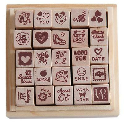 25 Pcs DIY Love Heart Seal Diary Pattern Rubber Wooden Stamp Set Wooden Box LH