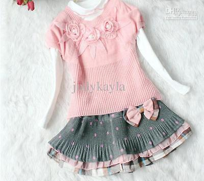 Girls 3 peice outfit pink white jumper sweater tutu skirt wedding party dress