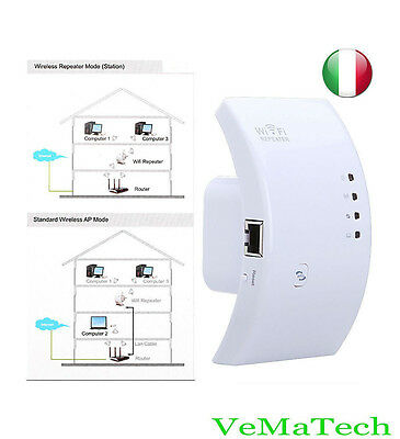 VMS AMPLIFICATORE WIFI REPEATER 300 Mbps RIPETITORE WIFI RANGE EXTENDER LAN