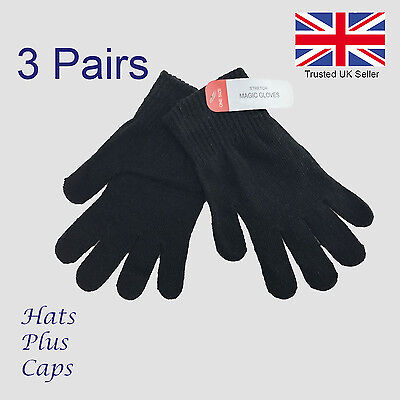 Black Gloves Winter Thermal Magic Stretch Mens Womans Warm Acrylc 3 PAIRS Gloves