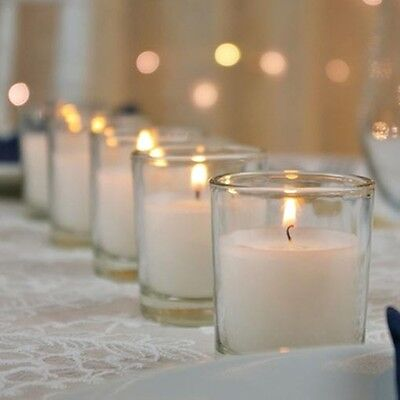36 White Wax Clear Glass Holder Wedding Table Decoration Votive Candle 6cm 12hr