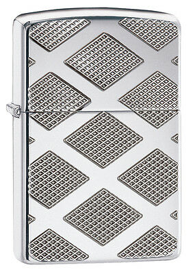 Zippo Windproof Armor High Polished Chrome Diamond Lighter, # 28637, New In Box