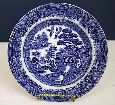 """Antique Dark Blue Willow 7 1/2"""" Plate C1903 Crown Pottery John Tams England"""