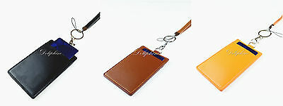 Lanyard with 4 layers PU Leather Vertical ID Badge Holder