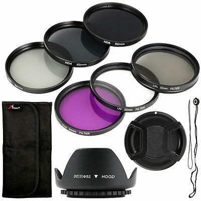 9pcs Filters Set + Lens Hood + Camera Cap 52mm for Nikon D7100 D5300 D3300 LF133