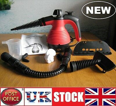 Electric Steam Cleaner Portable Hand Held Powerful Steamer Cleaning Set RED