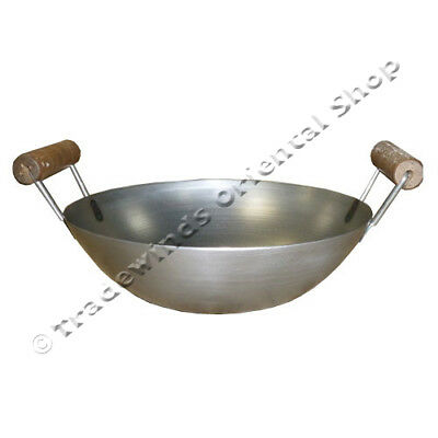 "12"" Double Handle Flat Based Carbon Steel Wok - Commercial Quality"