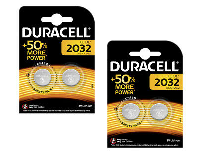 4 x DURACELL CR2032 LITHIUM BATTERY 3V BUTTON COIN BATTERIES DL2032 BR2032 2032