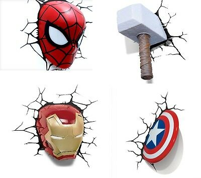 Marvel Spider Man/Thor/ Capt. America/Iron Man 3D Deco Wall Night Lights New