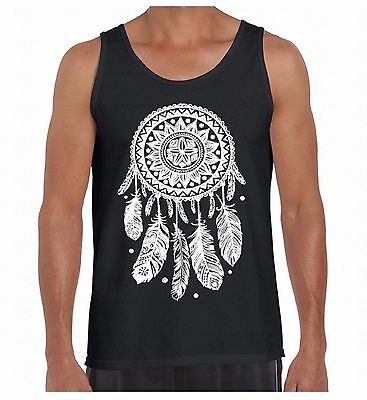 Dream Catcher White Men's Tank Top Feathers Indian Native Spirit Ethnic TankTOP