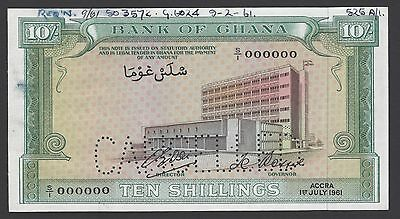 Ghana 10 Shillings 1-7-1961 P1bs Specimen Perforated Uncirculated
