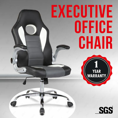 Black Leather High Back Executive Swivel Office Chair Computer Desk Furniture
