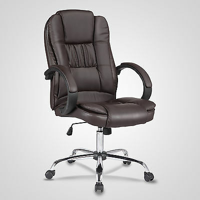 High Brown Leather Executive Office Chair Swivel Adjustable Computer Chair