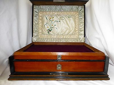 Antique English Mahogany Jewelry Box. Inlay. Burl. Very Large w/2 drawers. 1840