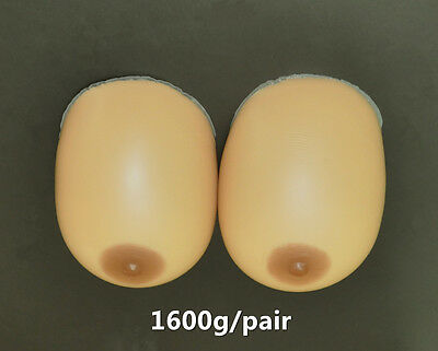 1600g/pair Artificial Silicone Breast Forms Boobs Mastectomy 40DD 42D 44C