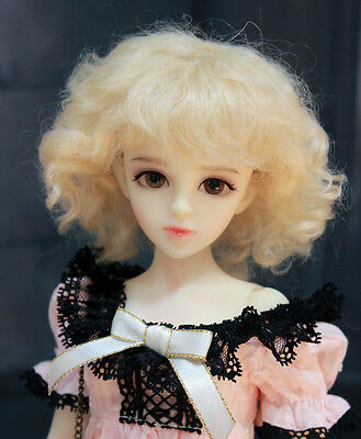 """1/6 or 1/4 bjd 6-7"""" doll wig blonde curly real mohair W-186S dollfie"""