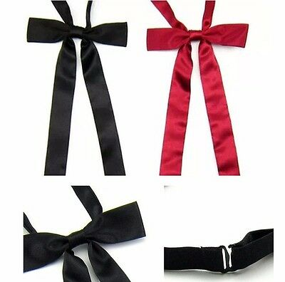 Women Fashion Long Party Wedding Banquet Adjustable Bow Tie Necktie (Black/Red)
