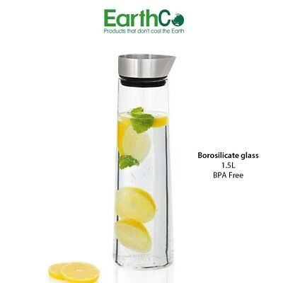 EarthCo Glass Carafe with Stainless Steel Pouring Lid - 1.5L