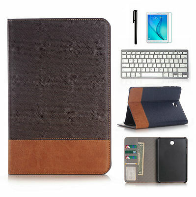 """Keyboard + Folio Leather Case Cover For Samsung Galaxy Tab A 8.0"""" T350 9.7"""" T550"""