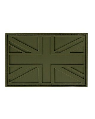Morale Patch, Union Jack, Subdued, pvc, rubber, velcro, Olive Green, airsoft, uk