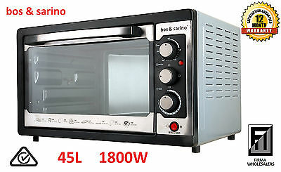 BOS & SARINO 45L Convection Rotisserie Broiler Oven Grill 1800W Waranty FREEPOST