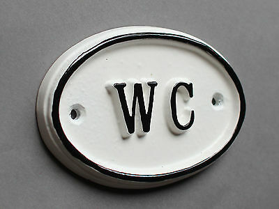WC Toilet Door Sign Ladies & Gents Bathroom Loo Vintage French White BATH-09-wh