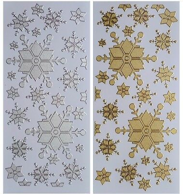 SPARKLE SNOWFLAKES Peel Off Stickers Frozen Snow Christmas Silver or Gold