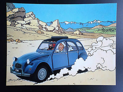 Lot de 2 cartes postales Tintin Citroen 1984