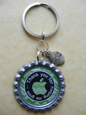 """Thank you for helping me grow"" Keyring Special Teacher Tutor present Gift Charm"
