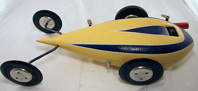 TETHER CAR ORIGINAL McCOY YELLOW TEARDROP GAS POWERED RACE CAR