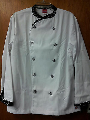 Nwt Dickies White Chef Coats  With Print Trim