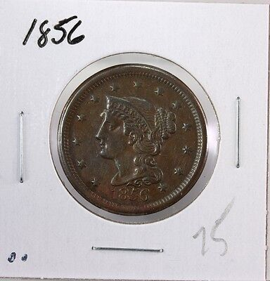 Raw 1856 Braided Hair 1C Uncertified Ungraded Early US Copper Large Cent Coin EC