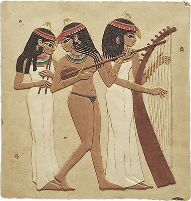 Egyptian Three Female Musicians Tomb Wall Fragment Relief E-075SP