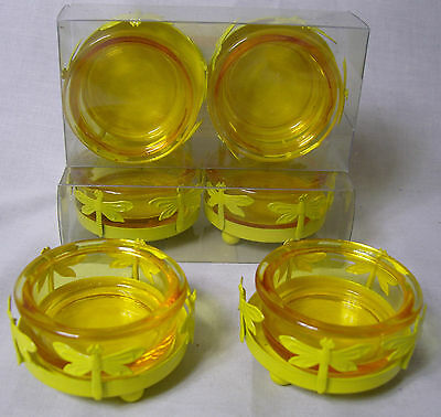 2 Yellow Tea Light Holders Metal Round Base with cut out Dragonfly & Glass Dish